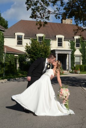 Bride and Groom Dipping at Windemere Manor by Columbia Photos