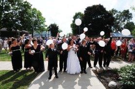 Wedding balloon release by Columbia Photos
