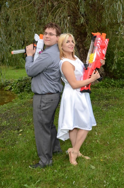 Weding photo with Nerf guns by Columbia Photos